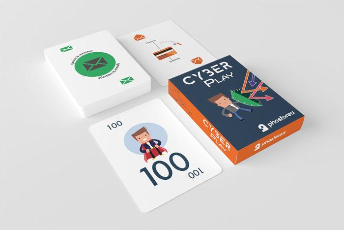 juego de cartas Cyberplay creado para Phosforea sobre sensibilización en ciberseguridad