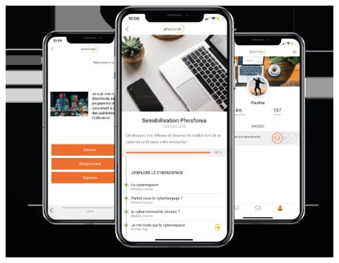 trois smartphones avec l'application mobile Phosforea de sensibilisation à la cybersécurité